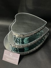 Stunning set of 3 heart mirror & crystal candle plate/ display plates
