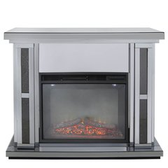Beautiful Smoked mirror with black crystal crackle fire place - with electric fire