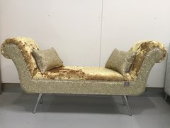 Beautiful Gilded Gold heavy crushed velvet with gold glitter double ended chaise lounge