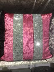 Stunning Ava pink scatter cushion with silver glitter