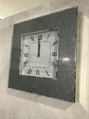 Beautiful silver glitter mirror edge wall clock