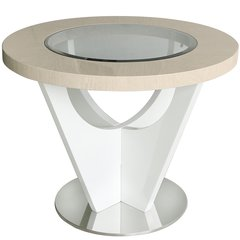 Beautiful Voke light Ivory & walnut round table