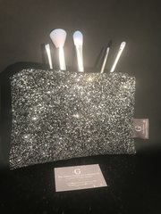 Stunning Black/silver mix glitter makeup bag - velvet lined