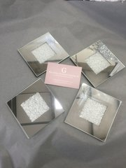 set of 4 mirror and crushed glass coasters