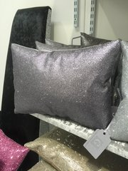 Beautiful Bailey flat glitter Grey scatter cushion 14x10 inch