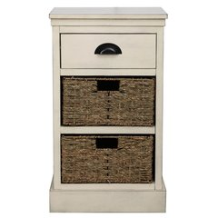 Beautiful shabby Chic natural finish drawer and basket set