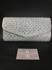 Beautiful Alex Max® Silver Crystal detail clutch/shoulder bag