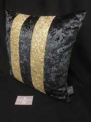 Stunning Ava black crushed velvet- gold glitter scatter cushion
