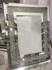 Beautiful crackle crystal and mirror photo frame 4x6 inch