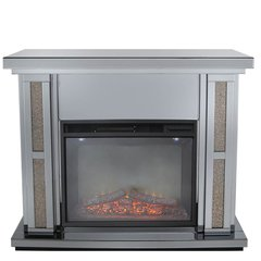 Beautiful smoked mirror with copper crystal fire place - with electric fire