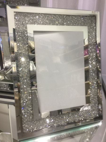 Beautiful Crackle Crystal And Mirror Photo Frame 4x6 Inch The Glitter Furniture Company