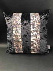 Stunning Ava Tiger natural glitter animal print - black crushed velvet cushion