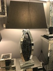 Stunning Black crystal and mirror table lamp with black 22inch shade