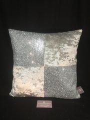 Stunning Mia Silver velvet - silver glitter scatter cushion