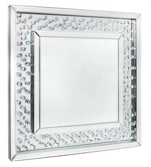 Beautiful floating crystal square wall mirror