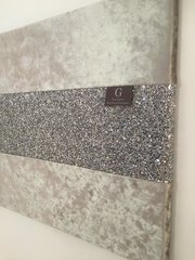 Crushed velvet silver with stunning silver glitter wall art Medium