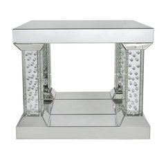 Stunning floating crystal mirror end table