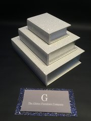Beautiful White with disco glitter book boxes - set of 3