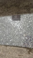 Beautiful Truffle crushed velvet with silver glitter bed runner