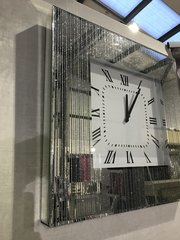 Beautiful mirror and silver glitter line detail wall clock