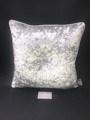 showroom stock - silver crushed velvet - silver disco pipe and button glitter detail scatter cushion