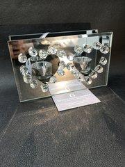 Stunning Double heart crystal tealight holder