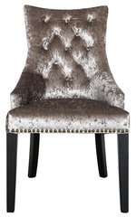 Champagne crushed velvet dining chair with arms - button back detail and ringback