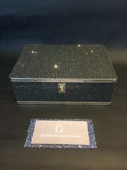 Beautiful Black Glitter cases jewellery box - Large