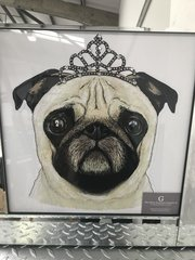 sparkle wall art picture Princess Pug with crystals