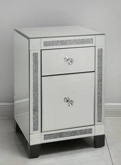 Stunning Crushed sparkle and mirror bedside drawers 2 drawer
