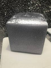 Ex showroom - Gunmetal grey velvet - Gunmetal grey glitter cube stool