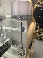 Beautiful silver lamp stand with silver shade and crystal crackle detail - large