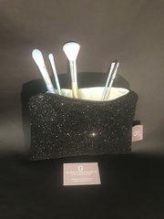 Stunning black glitter makeup bag - velvet lined