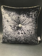 Glitter pipe Tiger animal print natural - black crushed velvet cushion
