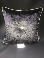 Stunning Ebony black - champagne gold glitter pipe & large button scatter cushion