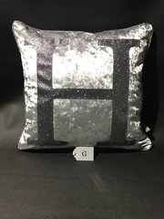 Beautiful alphabet cushion Gunmetal grey crushed velvet - Gunmetal grey glitter scatter cushion