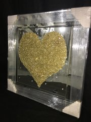 Gold crushed crystal glass - crystal detail and mirror frame