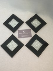 Set of 4 Black with crushed glass detail coasters
