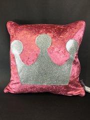 Stunning Princess Glitter crown scatter cushion- Lipstick pink velvet - Silver disco glitter
