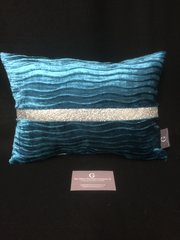 Beautiful Lucille wave cushion in marine blue velvet and disco glitter