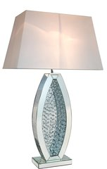 Beautiful floating crystal and mirror table lamp - 22inch white shade