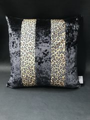 Ava Leopard natural glitter animal print - black crushed velvet cushion