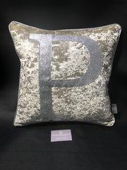 Beautiful letter alphabet cushion - Senso mink - disco glitter