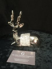 Stunning Nickle diamante laying crystal reindeer