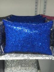 Beautiful Claira Blue crackle glitter scatter cushion 14x10 inch