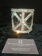 Crystal and glass tea light holder - make up brush holder small