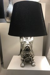 Stunning Silver French Bulldog Table Lamp with 8 inch Black Snakeskin Shade