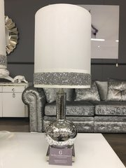 Beautiful silver mercury glass phial table lamp with a white crystal crackle detail shade