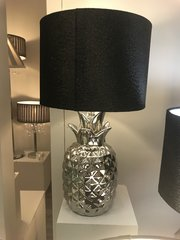 Silver Pineapple Table Lamp With 10 Inch Black snakeskin Shade