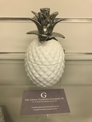 White art deco collection - Pineapple storage jar - small